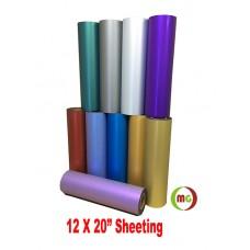 "HTV Satin Metallic PU Teat transfer Vinyl w/ None Sticky Backing For T-shirt, Garment etc.--------20"" x 12"" /sheet"