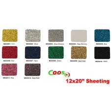 "HTV Coos Glitter Heat transfer Vinyl w/ Sticky Backing For T-shirt, Garment etc. ---12"" x 20"" /sheet"