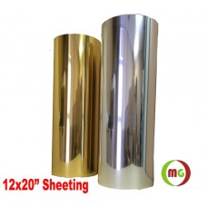 "HTV Coos Mirror Finish Gold and Silver for making custom fashion t-shirts, etc. 12x20"" / Sheet"