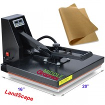"16 X 20"" Heat Press (Flat) with Teflon-coated heat element Sublimation Heavy Duty  ( Plus heat transfer paper/HTV start kits)"