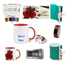 DIY Gift 12pcs Sublimation Mug  heat transfer image With Artesprix Pen Marker