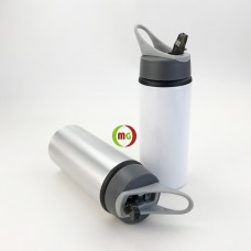 650ml Aluminum  Water Bottle with Straw Top 6pcs/Pack